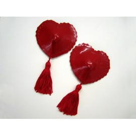 Heart Latex Pasties with Trim and Tassels
