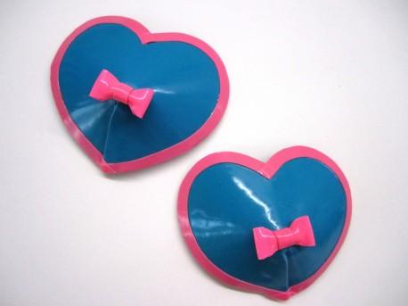 Herzförmige Latex-Pasties mit Schleifchen
