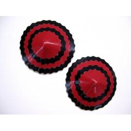 Runde Latex-Pasties mit doppeltem Zickzack-Streifen