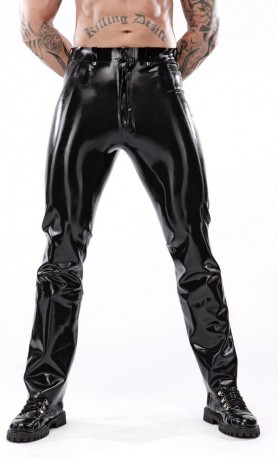 Jeans-cut Latex Trousers