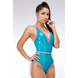 Halterneck Latex Leotard without Zipper