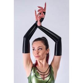 Fingerless Latex Arm Gauntlets