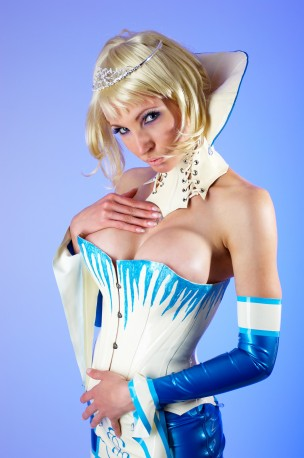 Ice Queen Latex Gauntlets