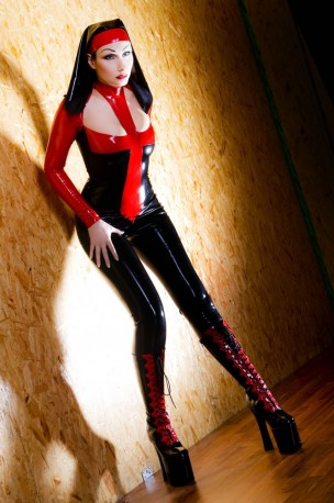Savage Nun Cat Latex Catsuit