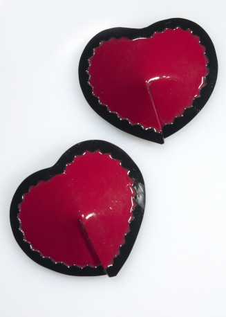 Heart Latex Pasties with Trim